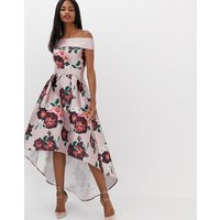Chi Chi London extreme bandeau midi dress in dusky pink floral