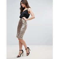 French Connection Lunar Sparkle Pencil Skirt - Pale gold