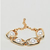 Pulsera de perlas y cadena dorada gruesa de DesignB London