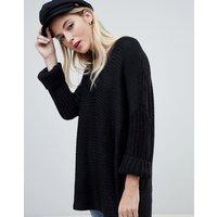 Noisy May deep v-neck oversize jumper - Black