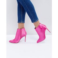 New Look Satin Heeled Ankle Boot - Bright pink