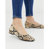 Accessorize Square Toe Snake Effect Flat Shoes