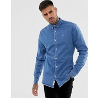 River Island muscle fit denim shirt in blue - Blue