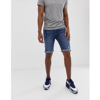 River Island skinny shorts in mid wash blue - Blue
