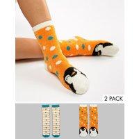 Sock Shop 2 Pack Penguin Cosy Socks - Orange