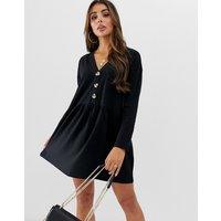ASOS DESIGN faux horn button v neck mini smock dress - Black
