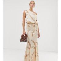 ASOS DESIGN Tall one shoulder satin drape maxi dress in brush stroke print - Beige