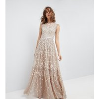 Needle & ThreadNeedle & Thread High Neck Maxi Gown with Embroidery and Embellishment - Beige