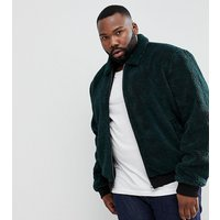 ASOS PLUS Borg Bomber Jacket in Bottle Green - Green