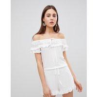 Brave Soul Candy Playsuit With Frill Off Shoulder - Cream