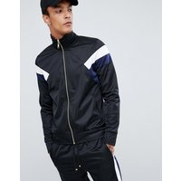 Criminal Damage track jacket in black with blue side stripe - Black
