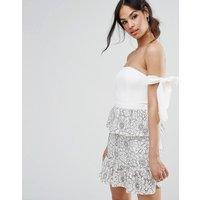 MissguidedMissguided Tie Shoulder Lace Peplum Dress - Multi