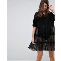 Noisy MayNoisy May Mesh Tiered V-Neck Dress - Black