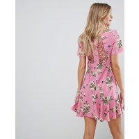 ASOSASOS Lace Up Back Tea Dress in Pretty Floral - Multi