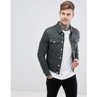 River Island muscle fit denim jacket in green wash - Green