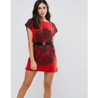 Pussycat LondonPussycat London Printed Tunic Dress With Waist Belt - Red