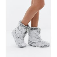 Bedroom Athletics Cole short faux fur slipper boot in grey - Arctic wolf