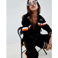 Criminal Damage hooded velour track top with stripe - Black/orange