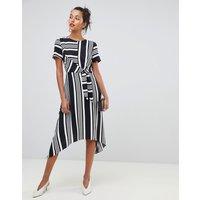 Oasis Hanky Hem Midi Dress In Black & White Stripe - Multi