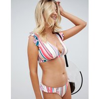 Asos Design Fuller Bust Mix And Match Frill Detail Plunge Crop Bikini Top In Pastel Stripe Print Dd-g - Pastel Stripe