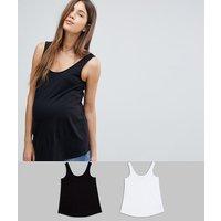 ASOS DESIGN Maternity ultimate vest 2 pack SAVE - Black/white
