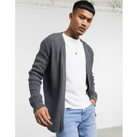 ASOS DESIGN lightweight cable cardigan in charcoal - Charcoal