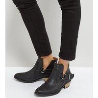 Qupid Western Trim Boot - Black distressed pu