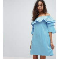 White Cove PetiteWhite Cove Petite Off Shoulder Boned Mini Dress With Volumnious Ruffle Sleeve Detail - Stripe