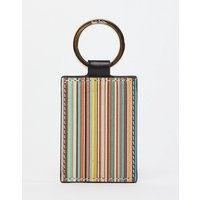 Paul Smith Leather Classic Stripe Keyring In Black - Black