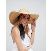Sombrero floppy de paja natural con detalle ajustable y anudado en la barbilla de ASOS