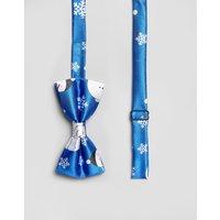 7x Christmas Snowman Print Bow Tie - Blue