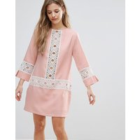 The English FactoryThe English Factory Shift Dress With Crochet Detail - Nude pink