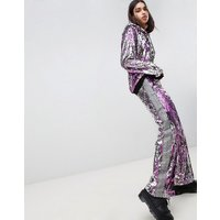 Jaded London Festival All Over Sequin Taped Tracksuit Bottoms - Pink/ silver