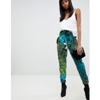 G-star Rovic Paperbag Waist Trouser With Tropical Print - Sage Ao/black