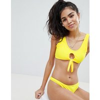 Missguided Knot Front Cami Bikini Top - Yellow