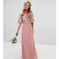 Maya Sequin Top Maxi Bridesmaid Dress With Flutter Sleeve Detail - Vintage rose