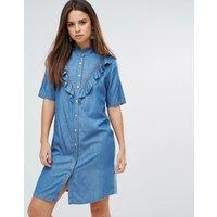 LiquorishLiquoriosh Ruffle Short Sleeve Denim Shirt Dress - Blue