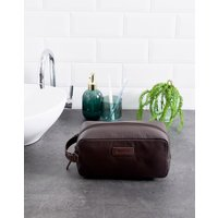 Barbour Compact Grain Leather Wash Bag In Brown - Brown