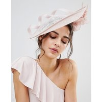 Vixen Disc Hat with Sinamay Swirl in Blush - Blush