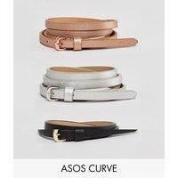 Pack de 3 cinturones para la cadera y la cintura con acabado metalizado de ASOS DESIGN Curve