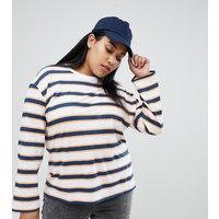 ASOS DESIGN Curve long sleeve t-shirt in retro stripe - Multi