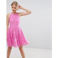 ASOS Lace Pinny Scallop Edge Prom Mini Dress - Bubblegum pink
