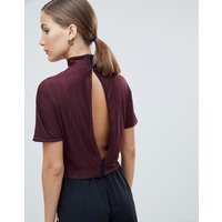 Native Youth high neck plisse top - Burgundy