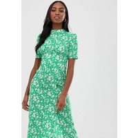 ASOS DESIGN Tall midi tea dress with buttons in floral print - Floral