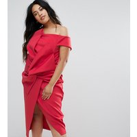 ASOS CurveASOS CURVE PREMIUM Bow Front Twist Off The Shoulder Midi Scuba Dress - Red