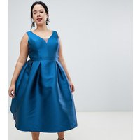 Chi Chi London Plus prom midi dress with sweetheart neckline in blue