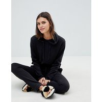 Asos Design Lounge Raw Edge Hoodie - Black
