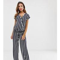 Mamalicious maternity stripe wrap jumpsuit - Navy blazer w white