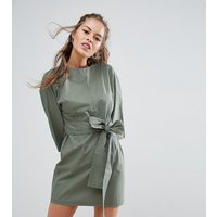 ASOS PetiteASOS PETITE Casual Tie Waist Mini Dress - Khaki