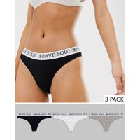 Brave Soul 3 Pack Waistband Thongs - Black/grey/white